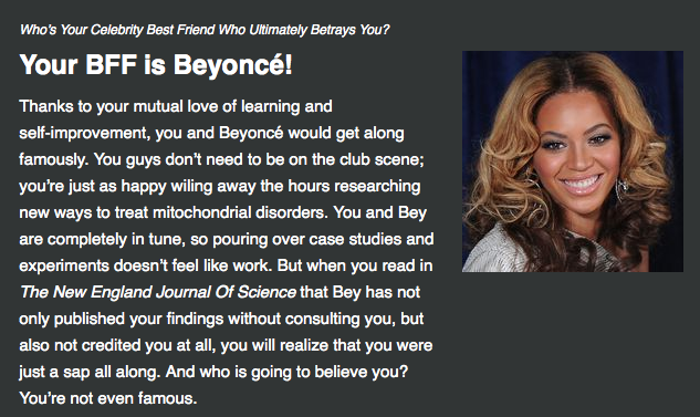 Beyonce the biochemist