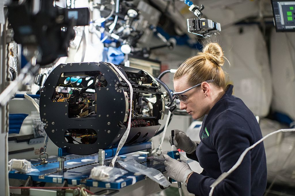 Kate Rubins working on the space station