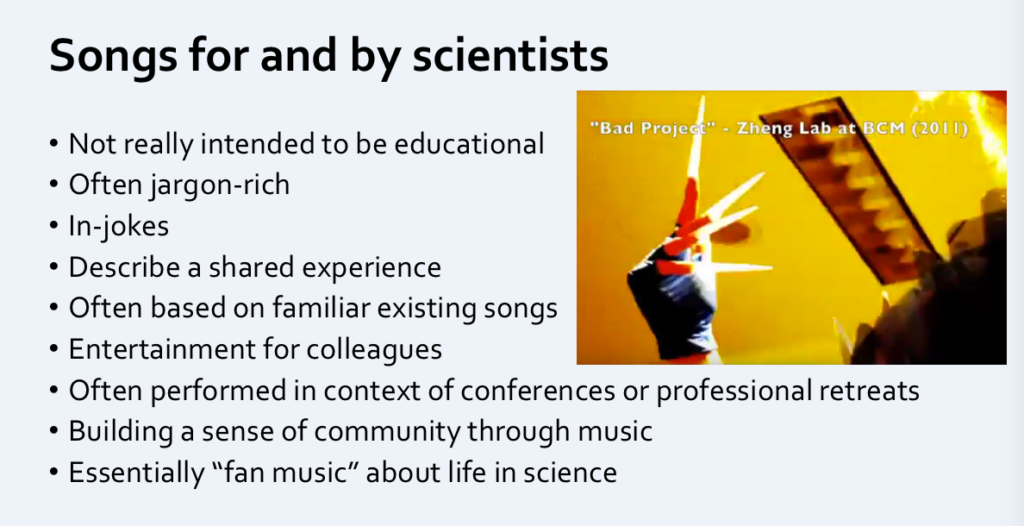 science songs for and by scientists